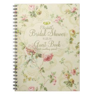 Libro de huésped Floral-Nupcial de la ducha del Libreta Espiral