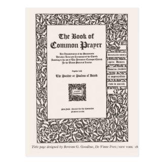 Libro de la oración común, Nueva York 1800 Postal