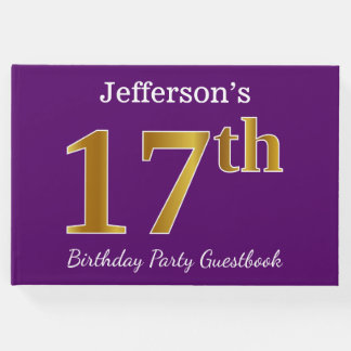 Libro De Visitas 17ma fiesta de cumpleaños del oro púrpura, falso;