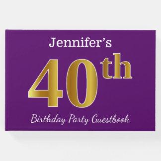 Libro De Visitas 40.a fiesta de cumpleaños del oro púrpura, falso;
