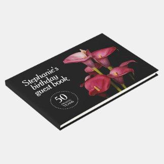 Libro De Visitas 50.o cumpleaños de las calas púrpuras elegantes