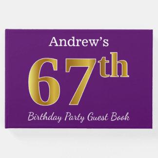 Libro De Visitas 67.a fiesta de cumpleaños del oro púrpura, falso;