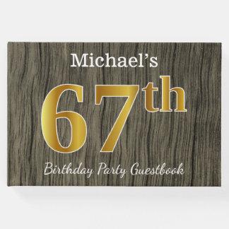 Libro De Visitas 67.a fiesta de cumpleaños del oro rústico, falso;