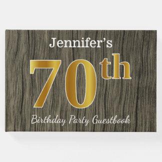 Libro De Visitas 70.a fiesta de cumpleaños del oro rústico, falso;