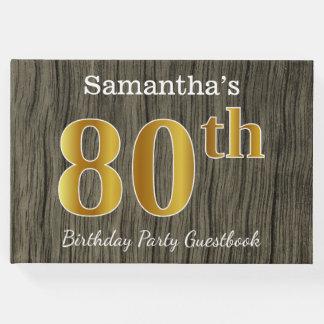Libro De Visitas 80.a fiesta de cumpleaños del oro rústico, falso;