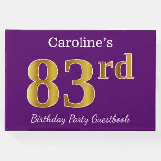 Libro De Visitas 83.a fiesta de cumpleaños del oro púrpura, falso;