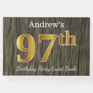 Libro De Visitas 97.a fiesta de cumpleaños del oro rústico, falso;