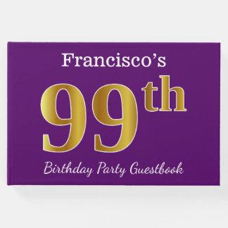 Libro De Visitas 99.a fiesta de cumpleaños del oro púrpura, falso;