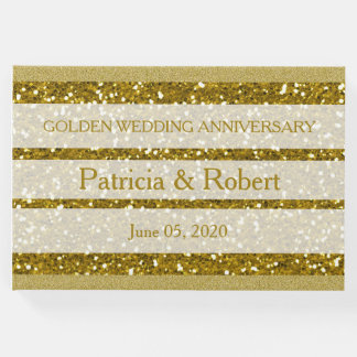 Libro De Visitas Aniversario de boda de oro del purpurina del oro