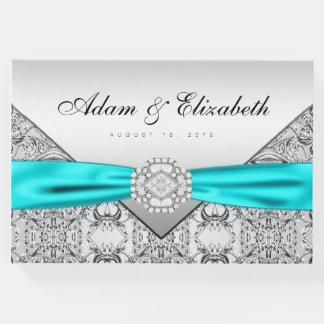 Libro de visitas azul de la bodas de plata del