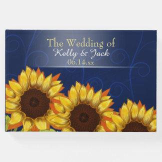 Libro de visitas azul del boda del girasol