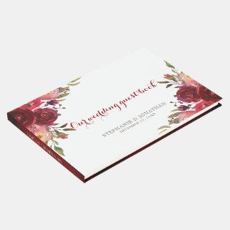 Libro De Visitas Boda floral de los rosas rojos de Borgoña Marsala