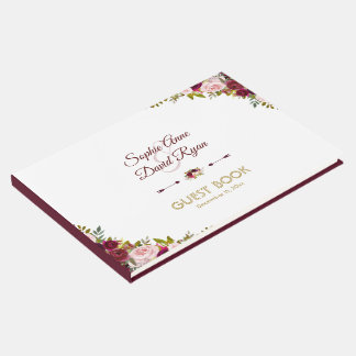 Libro De Visitas Boda floral de Marsala Borgoña de la caída