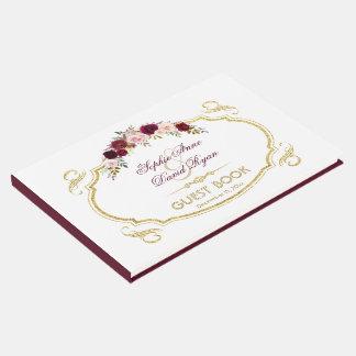 Libro De Visitas Boda floral elegante de la caída de Borgoña