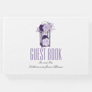 Libro De Visitas Boda floral púrpura de la linterna