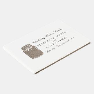 Libro De Visitas Boda rústico del tarro de albañil de la arpillera