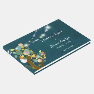 Libro De Visitas Boda verde azulado de los árboles ligeros de la