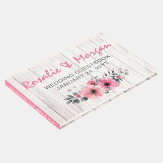 Libro De Visitas Ceremonia de boda color de rosa floral de madera