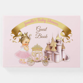Libro De Visitas Chica real de princesa Castle Carriage Pink Gold