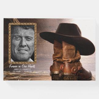Libro de visitas conmemorativo fúnebre del vaquero