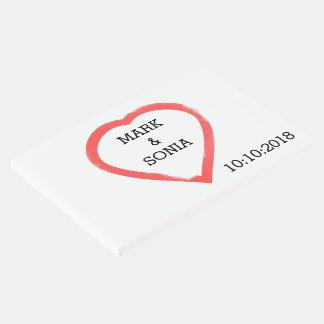 Libro De Visitas Corazón minimalista del boda de la acuarela