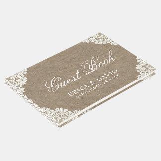 Libro De Visitas Cordón del boda rústico y vintage blancos de la