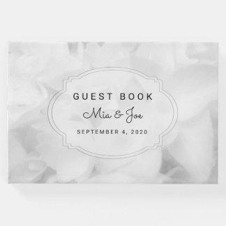 Libro de visitas de encargo floral blanco del boda
