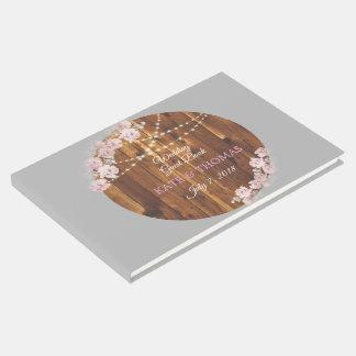 Libro de visitas de madera del boda de la