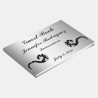 Libro de visitas de plata negro de Quinceañera del