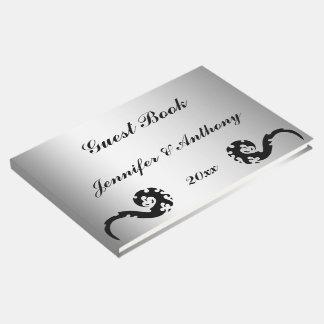 Libro de visitas de plata negro del boda del