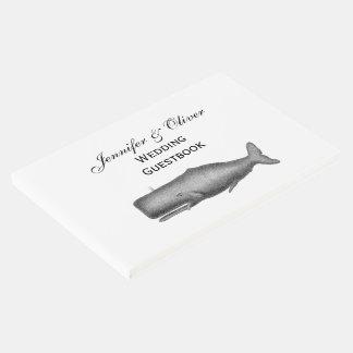 Libro De Visitas Dibujo del siglo XIX de la ballena del vintage
