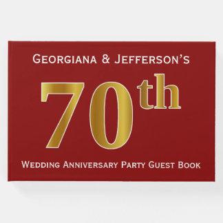 Libro De Visitas Fiesta de aniversario rojo oscuro, falsa del boda
