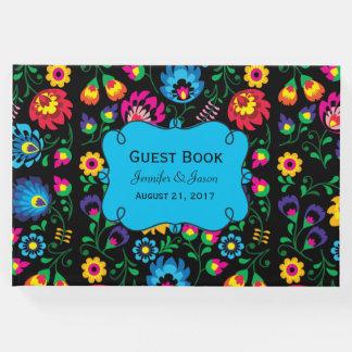 Libro de visitas floral colorido del boda