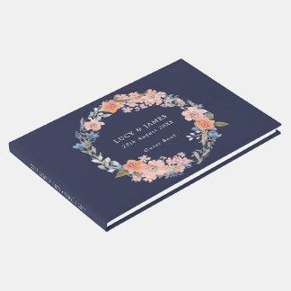 Libro de visitas floral del boda de la guirnalda