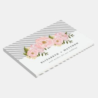 Libro de visitas floral del boda de la pintura de