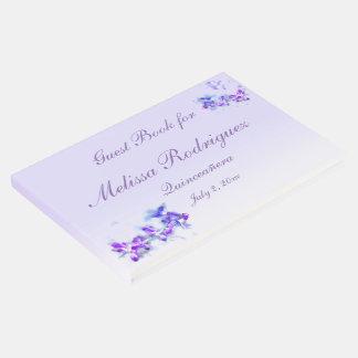 Libro de visitas floral púrpura de Quinceanera de