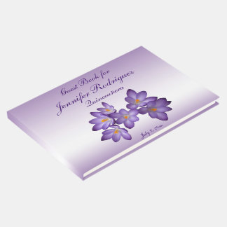 Libro de visitas floral púrpura de Quinceañera de