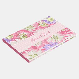 Libro De Visitas Floral rosado bonito del jardín de la primavera