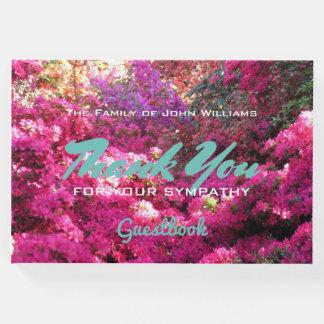 Libro De Visitas Flowerfall de encargo en la condolencia de maderas