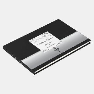 Libro de visitas fúnebre cruzado de la flor de lis