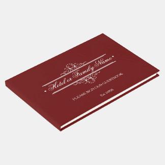Libro De Visitas Hotel o familia personalizado de color rojo oscuro