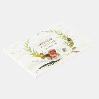 Libro De Visitas Madera floral bohemia de la guirnalda de Boho del