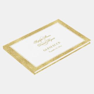 Libro De Visitas Oro elegante y boda blanco de la frontera