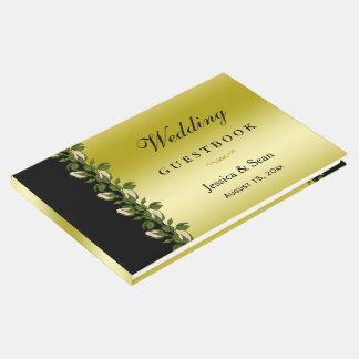 Libro De Visitas Oro romántico floral elegante y boda negro