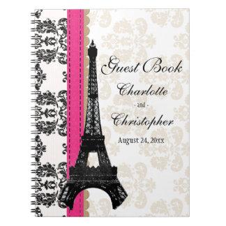 Libro de visitas parisiense del boda de la torre cuaderno