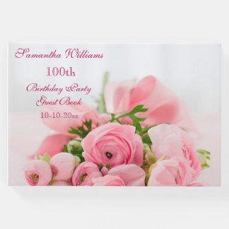Libro De Visitas Ramo de 100o cumpleaños de los rosas rosados