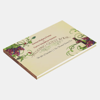 Libro de visitas romántico del viñedo del vino del