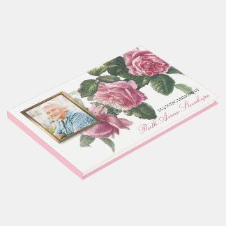 Libro De Visitas Rosa de té fúnebre conmemorativo de la antigüedad