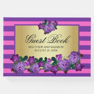 Libro De Visitas Rosas púrpuras y boda personalizado oro