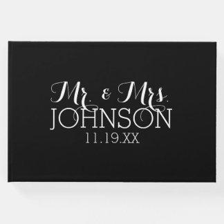 Libro De Visitas Sr. y señora Wedding Favors del negro del color